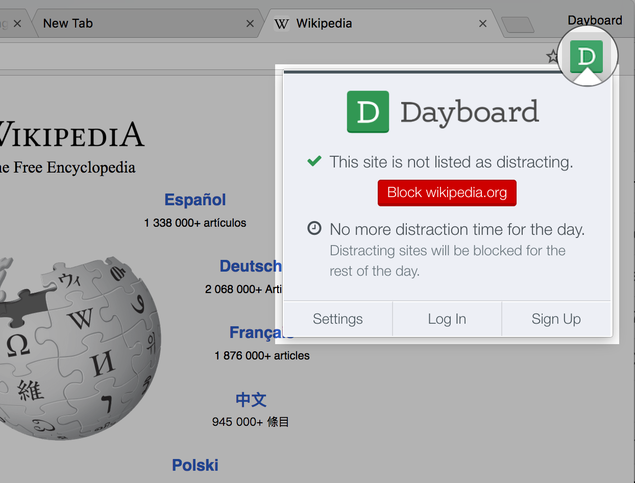 Dayboard Site Blocker Extension Icon - Green