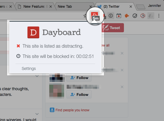 Dayboard Site Blocker Extension Icon - Red